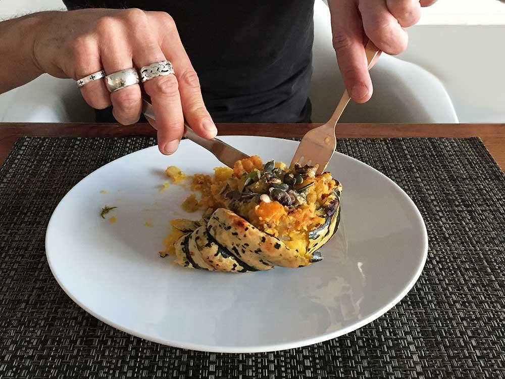 Gevulde pompoen met gorgonzola