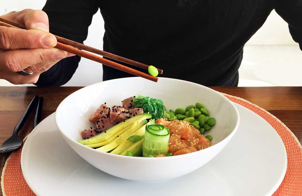 poke bowl met tonijn zalm edamame