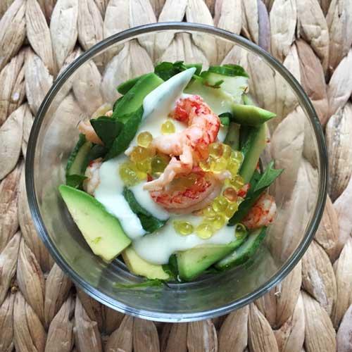 salade rivierkreeftjes avocado wasabikaviaar