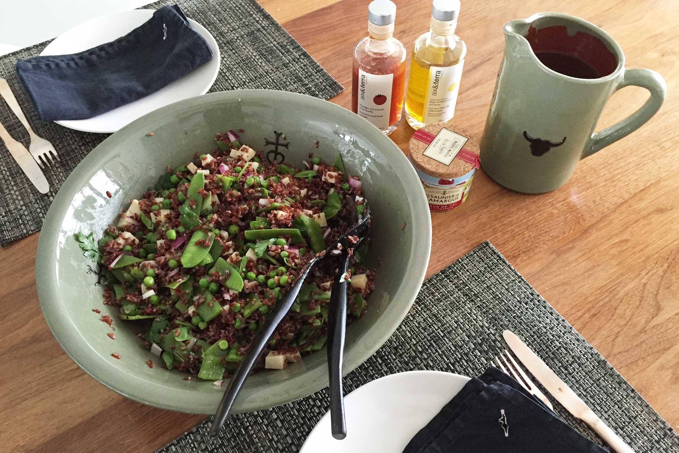 Salade van rode rijst uit de Camargue