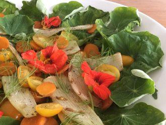 Salade met Oost-Indische kers, venkel, tomaat en wortel